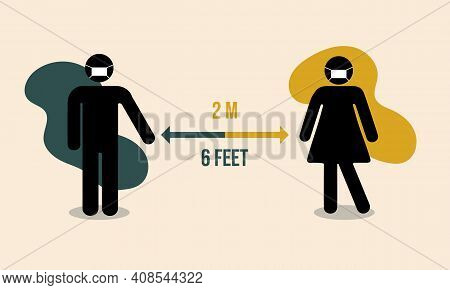 Social Distancing. Simple Man Or Woman Black Silhouettes Wearing Medical Mask And Arrow Distance Bet