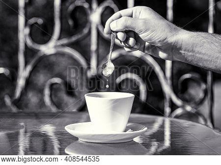 Cappuccino And Black Espresso Coffe Cup. Coffee Drink. Closeup. Coffe Time, Spoon. Black Coffee. Han