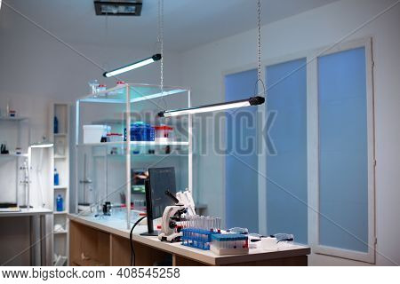 Modern Laboratory For Scientific Research With Professional Equipment For Studying Virus. Modern Lab