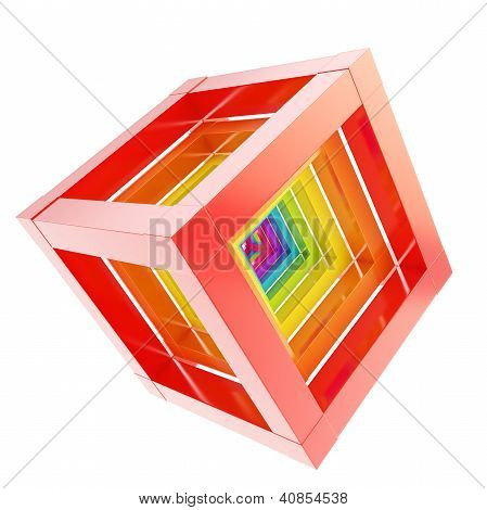Abstract Cube Composition Isolated On White Background