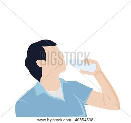 man bottle drinking water