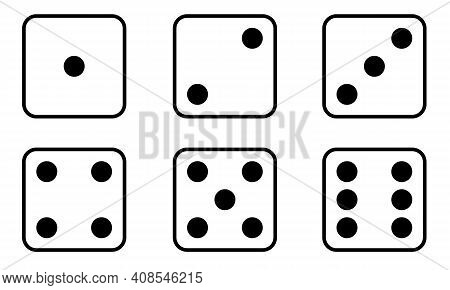 Set Of Dice Icon. Traditional Die With Six Faces Of Cube Marked With Different Numbers Of Dots Or Pi