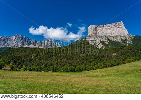 Mont Aiguille In The French Vercors Mountains In France, Europe