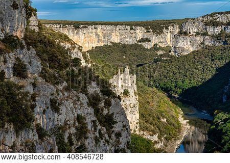 Landscape View Around The Village Le Garn And The Ardeche Mountains In France