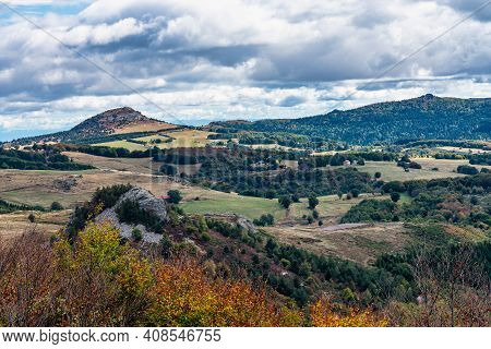 View Over The Valley And Mountains In Lachamp Raphael, Ardeche In Southern France