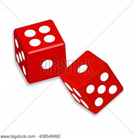 Two Red Dice Cubes With Shadow On The White Background. Casino Gambling Template Concept.