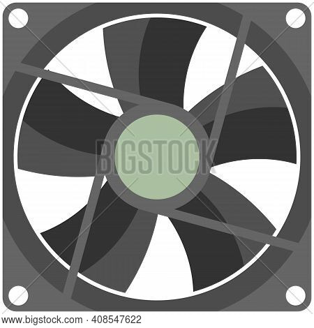 Computer Fan Vector Isolated On White Background
