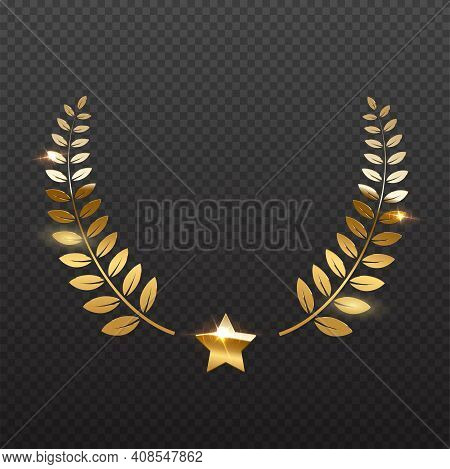 Award Star And Golden Laurel. Gold Prize Elements On Transparent Background. Champion Glory In Compe