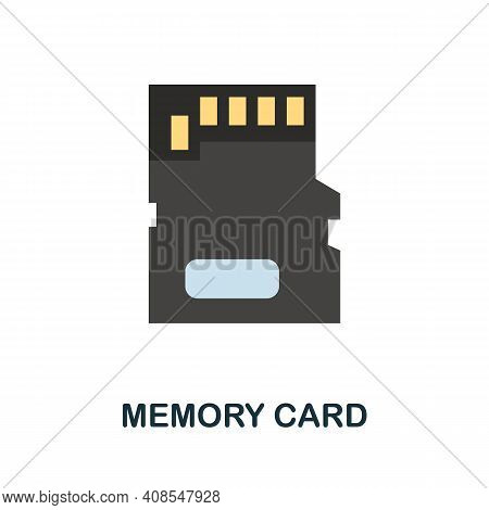 Memory Card Flat Icon. Color Simple Element From Phone Accessories Collection. Creative Memory Card