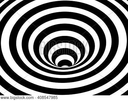 Striped Crater On White Background. Black Stripes On Modern Circular Geometric Shape Design Vector I