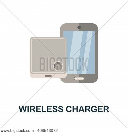 Wireless Charger Flat Icon. Color Simple Element From Phone Accessories Collection. Creative Wireles