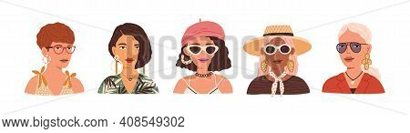 Portraits Of Different Young Modern Women Wearing Straw Hat, Beret, Sunglasses And Eyeglasses. Set O