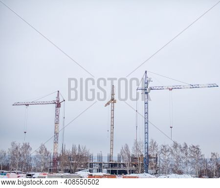 High-rise Crane For Construction On The Sky Background. Construction Site With High-rise Cranes. Sal