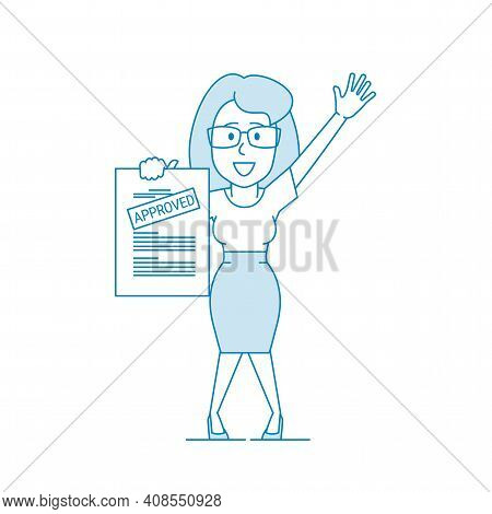 Happy Woman Shows A Document With The Inscription Approved. Getting Permission. Character - A Woman