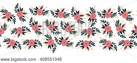 Seamless Vector Border Flat Rose Flowers Pink Horizontal. Romantic Florals Leaves Old Rose Pink Colo