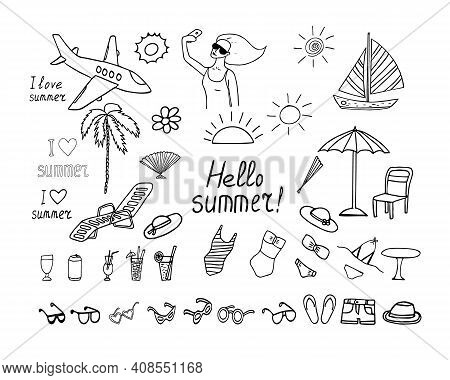 Summer Vacation Set Icon. Sketch Hand Drawn Doodle Style. Minimalism, Monochrome. Swimsuit, Sun, Pal