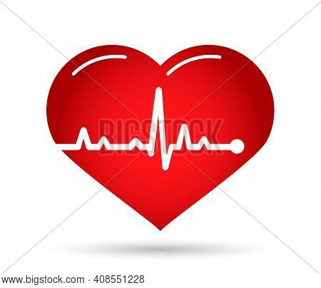 Line Cardiogram Heart Onwhite Background. Icon Heart