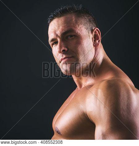 Portrait Of Handsome Naked Man. Brutal Male. Bare Torso Chest