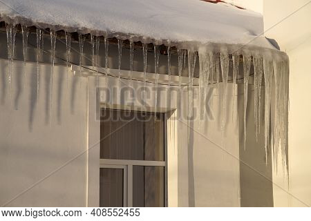 Large Icicles On The Roof Of The School Are A Big Danger For Children And Adults.