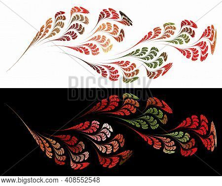 Red And Green Leaves Grow On An Abstract Wavy Twig. The Twig Is Symmetrically Reflected Horizontally