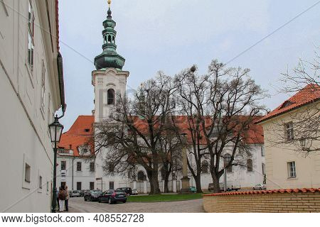 Prague, Czech - April 24, 2012: This Is The Side Facade Of The Basilica Of The Assumption Of The Vir