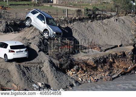 Breil-sur-roya, France - October 8, 2020: Town Of Breil-sur-roya Was Submerged By The Mud And The Wa