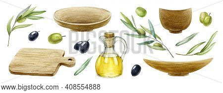 Rustic Kitchen Set With Olive Oil And Tree Branches. Wood Cooking Plate, Bowl, Glass Jug With Virgin