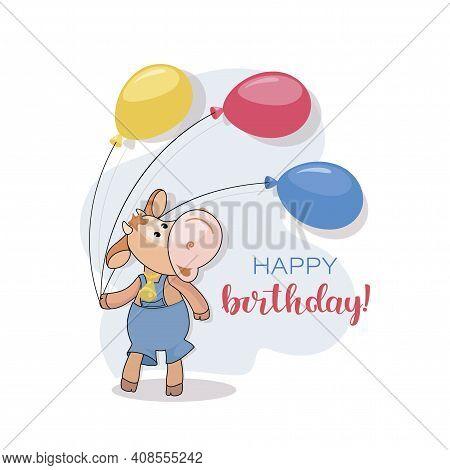 Calf, Balloons. Happy Birthday. Postcard. Cute Little Calf. Cartoon Character Animal In Baby Manner