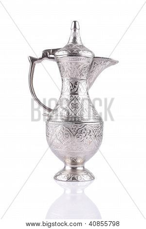Antique Silver Pitcher Isolated On A White Background