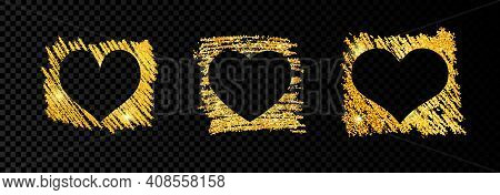 Set Of Three Hearts On Golden Glittering Scribble Paint On Dark Transparent Background. Background W