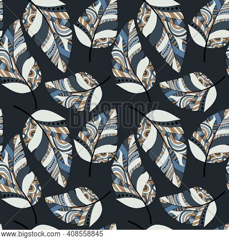 Plumage Seamless Pattern. Vector Isolated Plume On Dark. Bright Colored Feathers. Design Of Fabrics