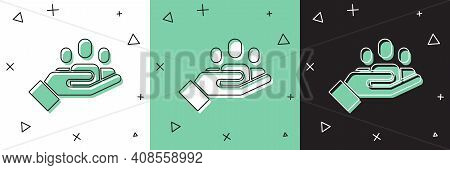 Set Hand For Search A People Icon Isolated On White And Green, Black Background. Recruitment Or Sele