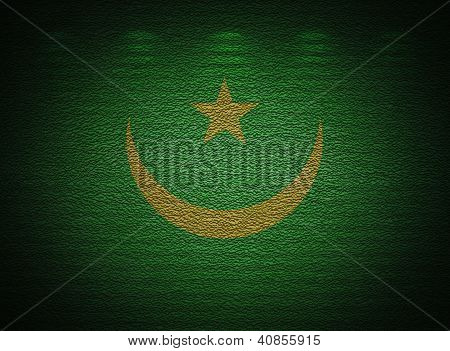 Mauritanian Flag Wall, Abstract Grunge Background
