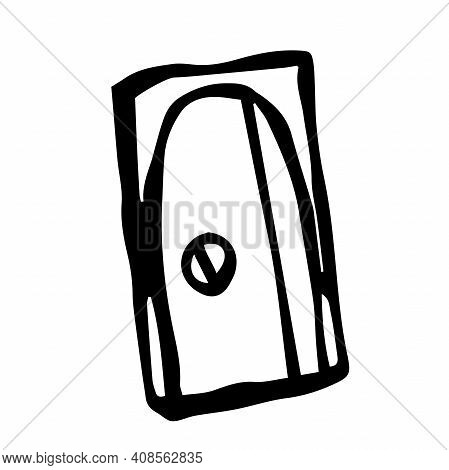 Sharpener Isolated On A White Background In Hand Drawn Style. Dooddle Vector Illustration