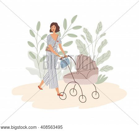Happy Young Mom Walking With Baby In Pram. Modern Trendy Woman Pushing Stroller With Child. Mother W