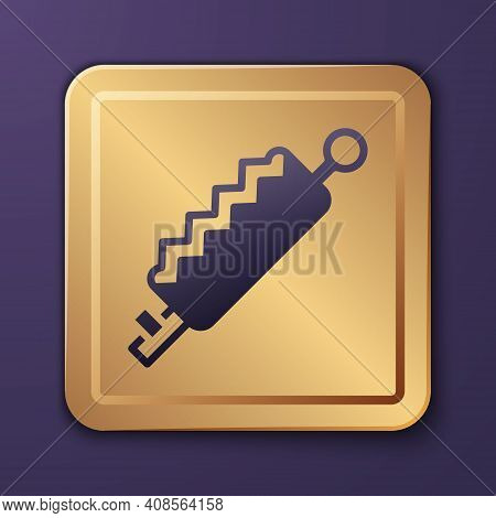 Purple Trap Hunting Icon Isolated On Purple Background. Gold Square Button. Vector