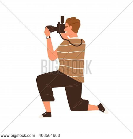 Side View Of Professional Male Photographer Holding Digital Photo Camera And Taking Photos. Modern M