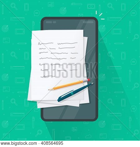 Writing Article Or Letter On Mobile Cell Phone, Storytelling Content Creation, Writer Notepad Or Not