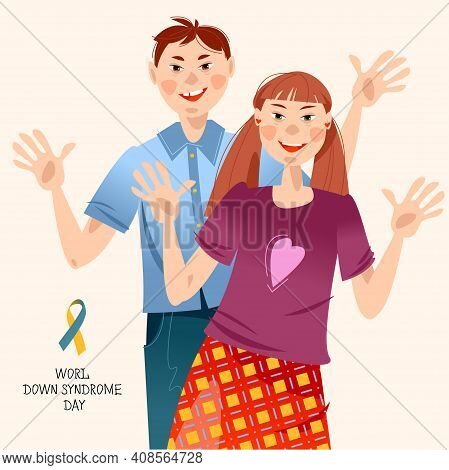Smiling Boy And Girl With Down Syndrome. World Down Syndrome Day. Vector Illustration