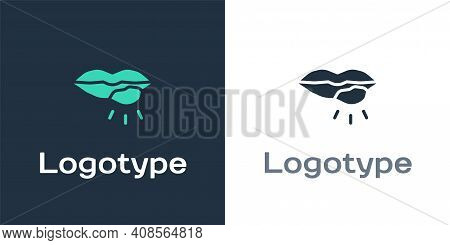 Logotype Herpes Lip Icon Isolated On White Background. Herpes Simplex Virus. Labial Infection Inflam