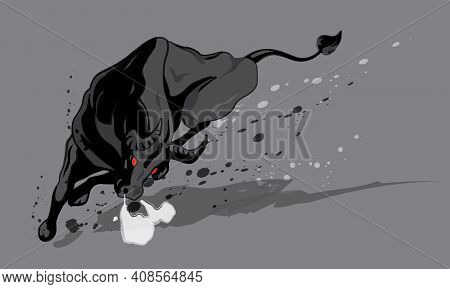 An Energetic Bull With Ink Brush Effect. Vector With Plain Color Background.