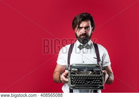 Journalistic Concept. Brutal Handsome Man With Moustache. Mature Typist Use Vintage Typewriter. Masc