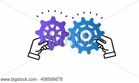 Hands Holding Two Gears Jigsaw Puzzle Pieces Together To Find A Solution.theory And Practice Concept