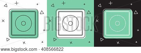 Set Billiard Chalk Icon Isolated On White And Green, Black Background. Chalk Block For Billiard Cue.