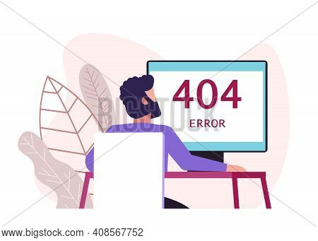 Business Concept Vector Illustration, Error 404, Disconnecting From The Internet, Unavailable, Man A