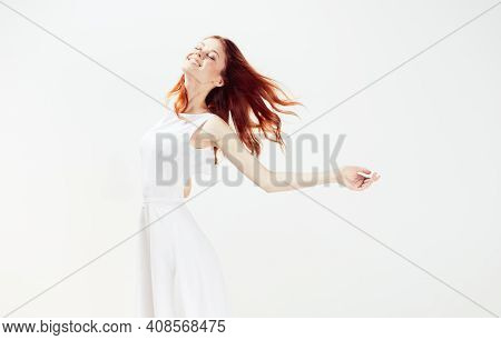 Woman In White Dress Red Hair Glamor Movement