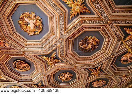 Castle Interior, Baroque And Renaissance Furniture, View Looking Up At Wooden Renaissance Ceiling Wi