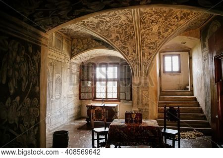 Castle Interior, Baroque And Renaissance Furniture, Painted Ceiling With Sgraffito, Wooden Carved Ar