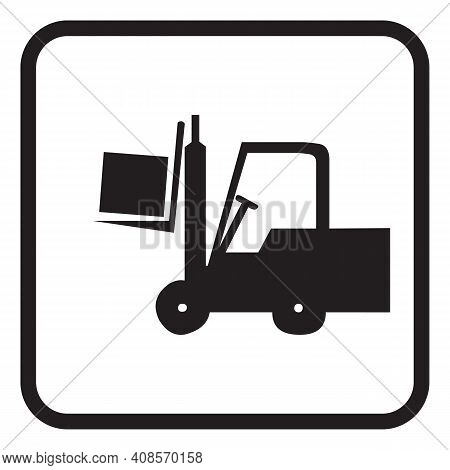 Vehicle Forklift Picks Up A Box, Vehicle For Lifting Loads, Cargo Unloading Or Loading Concept
