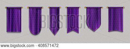 Purple Pennant Flags, Quilt Textile Pendants For Sport Teams, Varsity Or Heraldic Symbols. Vector Re